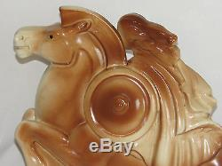 06c23 Old Statue Naked Woman On Horse Ceramic Art Deco Signed Lemanceau