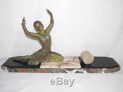 11d7 Old Statue Female Dancer Art Deco Regulates Patina Bronze Sign H. Molins