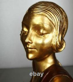 1920/1930 A Godard Grande Belle Statue Sculpture Art Deco Woman Elegant Pheasants
