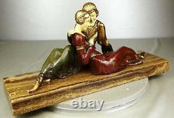 1920/1930 A Godard Statue Sculpture Art Deco Woman Elegant Pt. Chryselephantine