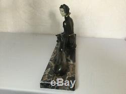 # 1920/1930 Belle Statue Sculpture Art Deco Woman And Doe Dlg Limousin 58 CM
