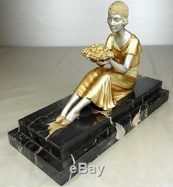 1920/1930 D. H. Chiparus Rare Statue Sculpture Ep. Elegant Art Deco Woman Fruit
