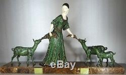 1920/1930 D. H. Chiparus Statue Sculpture Art Deco Chryselephantine Female Goats