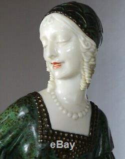 1920/1930 Dh. Chiparus Rare Statue Sculpture Chryselephantine Ep. Art Deco Woman