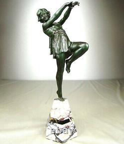 1920/1930 E. Carlier Grde Statue Sculpture Ep. Art Deco Dancer Ballerine Woman