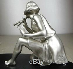 1920-1930 Geo Maxim G. Omerth Rar Statue Sculpture Art Deco Woman Bird Trumpet