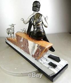 1920/1930 Geo Maxim G Omerth Rare Statue Sculpture Art Deco Woman Bergere Mouton