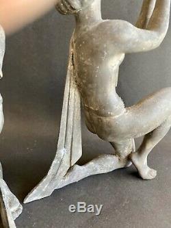 1920/1930 Limousin 2 Large Sculpture Art Deco Nude Woman Dancer Book Greenhouses