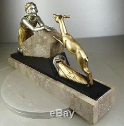1920/1930 Limousin Beautiful Rare Statue Sculpture Ep. Art Deco Woman Biche Fontaine