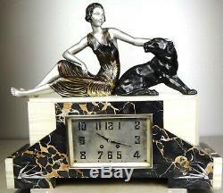 1920/1930 Limousin Pendulum Sculpture Statue Art Deco Woman Black Panther Felin