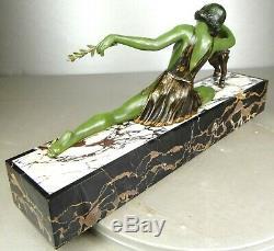 1920/1930 Limousin Rare Statue Sculpture Art Deco Woman Dancer Pet Goat