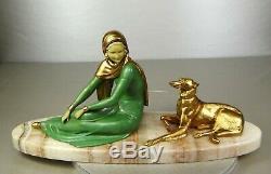 1920-1930 Menneville Statue Sculpture Chryselephantine Ep. Art Deco Greyhound Female