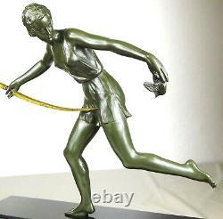 1920/1930 Nitche Grd Statue Sculpture Art Deco Ep Diane Huntress Female Bird
