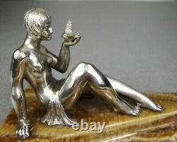 1920/1930 P. Le Faguays Rare Statue Sculpture Art Deco Bronze Silver Woman Nude