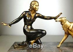 1920-1930 Roggia Menneville Statue Sculpture Art Deco Femme Elegante Borzoi Dog