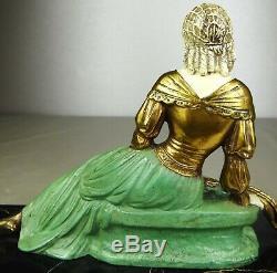 1920/1930 U Rar Cipriani Statue Sculpture Patina Art Deco Woman Chryselephantine