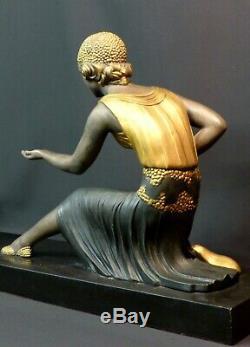 1925 E 76cm Statue Sculpture Art Deco Woman Chiparus Goats Superb Marble