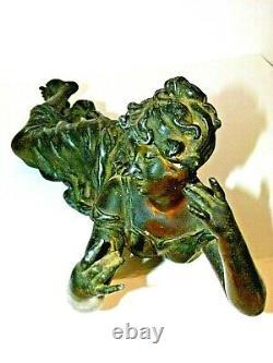 398 Elongated Woman 1900 Art New Regulated Lamp Flute Player Regulates