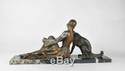A Godard Woman Barzoi, Sculpture Signed Art Deco, Xxth Century