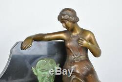 A. Trefoloni, Woman Fountain, Bronze Sculpture / Marble Signed, Débxxeme