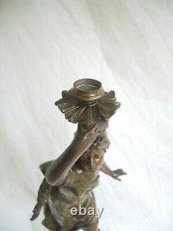 Ancienne Lampe À Pétrole Statue Femme Le Trépuscule By Bruchon Signed