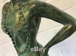 Ancient Art Deco Green Patinated Bronze Sculpture Russian Female Dancer