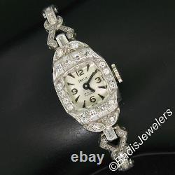 Ancient Art Deco Platinum 1.16ctw Diamond Bracelet Switzerland Belvil 17j Watch