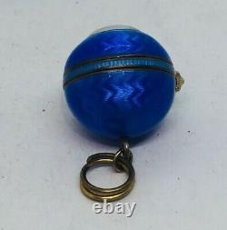 Ancient Art Deco Silver Massif Enamel Blue Guilloché Ball Pendant Watch