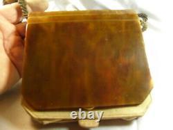 Ancient Handbag Minaudière Pochette Bakelite Evening Ambre Art Deco Bag