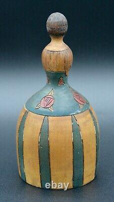 Ancient Powder Box Figure Woman In Wood Sculpted Painted Art Deco