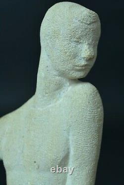 Ancient Sculpture By Henri Duler Young Assise Art Deco Pierre