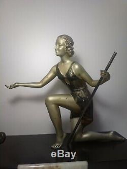 Ancient Statue Art Deco Woman With Greyhound