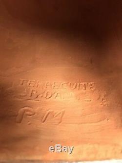Ancient Statue Tete De Femme Art Deco Terracotta Signed