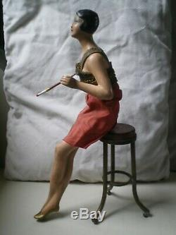 Ancient Woman Art Deco Doll In Antique Ceramics Woman Doll Sculpture Figure