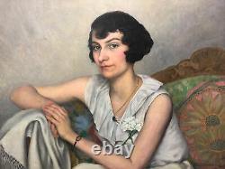 Armand Guidat Portrait Of Young Woman Brown Art Deco Nancy Hst 1932 73x92