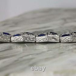 Art Deco 8.00 Ct Diamond Vintage Sapphire Bracelet 14k White Gold On