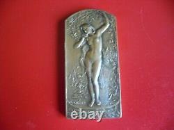 Art Deco / Art Nouveau Rare Plaque-médaille Woman Nude By Coudray