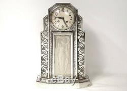 Art Deco Clock Hettier & Vincent Bronze Silver Glass Clock Woman Twentieth