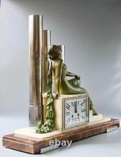 Art Deco Clock, The Woman, 1930