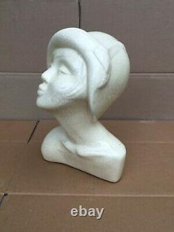 Art Deco Cracked Ceramic Woman Bust Signed