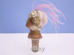 Art Deco Head Female / Wachskopf Bottle Cap Wachs 1920er Years