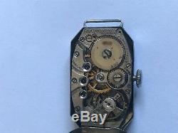 Art Deco Helbros 14k Gold Diamond Women Watch