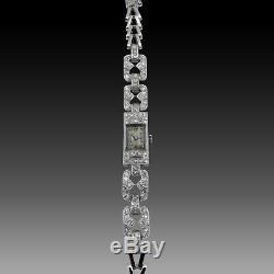 Art Deco Lady's Watch In Platinum 1930 With Antique Cut Diamonds. Mechanical