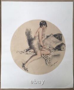 Art Deco Lithography Portrait Sensual Woman Beast Skin William Ablett