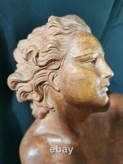 Art Deco Sculpture Large Terracotta Woman Chained By O. Merval