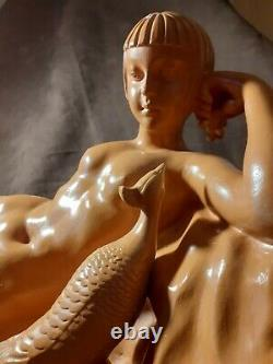 Art Deco Sculpture Woman With Terracotta Peacock Signed