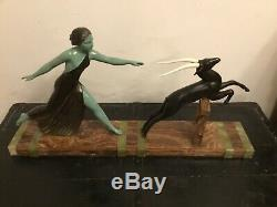 Art Deco Statue Sculpture By Campbell (women And Lantilope) Dlg Menneville