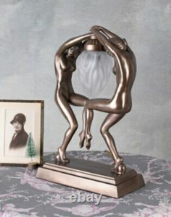 Art Deco Table Lamp Glass Lampshade Dancers Naked Woman Sculpture New