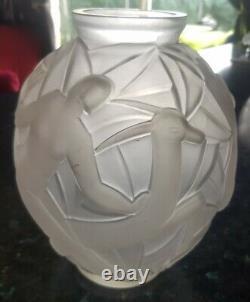 Art Deco Vintage Glass Vase Gueron France, Women's Decorations, Cazaux