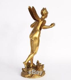Art Nouveau Bronze Woman Signs The Dragonfly Kley
